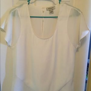 White silk and sheer blouse with button keyhole